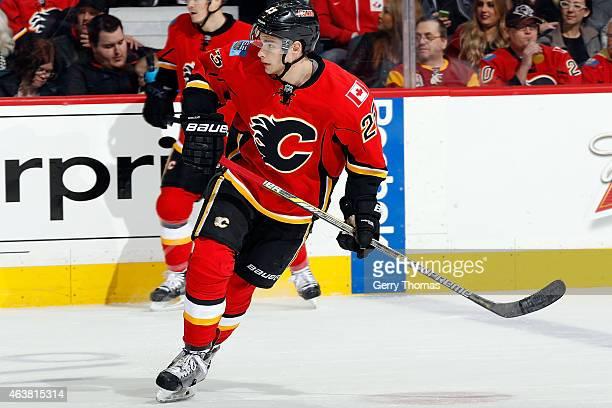 Sean Monahan of the Calgary Flames skates against the Minnesota Wild at Scotiabank Saddledome on February 18 2015 in Calgary Alberta Canada
