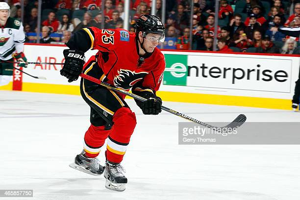 Sean Monahan of the Calgary Flames skates against the Minnesota Wild at Scotiabank Saddledome on February 18 2015 in Calgary Alberta Canada The Wild...
