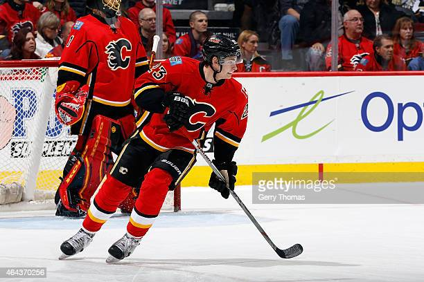 Sean Monahan of the Calgary Flames skates against the Pittsburgh Penguins at Scotiabank Saddledome on February 6 2015 in Calgary Alberta Canada The...