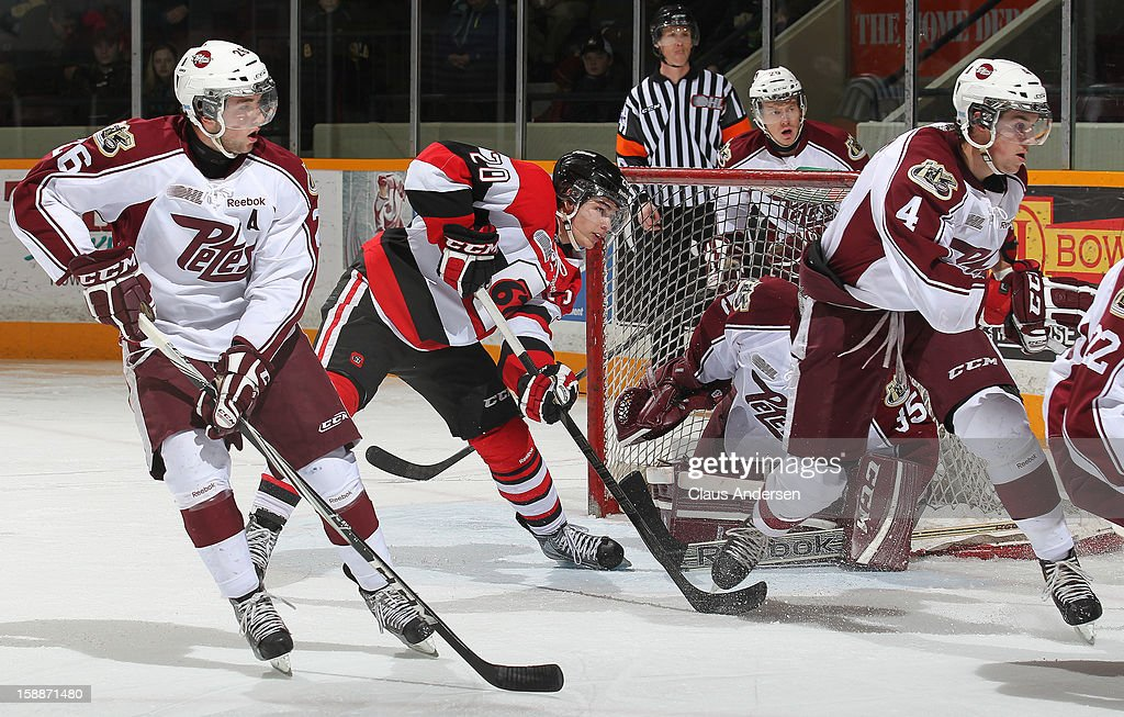Sean Monahan #20 of the Ottawa 67's waits for a pass in an OHL game against the Peterborough Petes on December 29, 2012 at the Peterborough Memorial Centre in Peterborough, Canada. The 67's defeated the Petes 6-3.