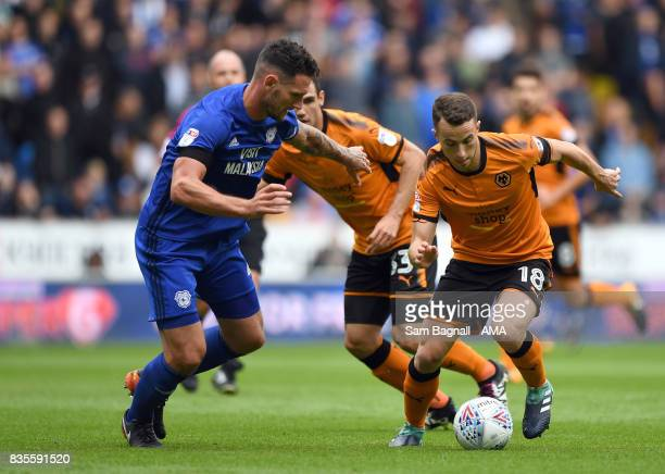 Sean Morrison of Cardiff City and Diogo Jota of Wolverhampton Wanderers during the Sky Bet Championship match between Wolverhampton and Cardiff City...