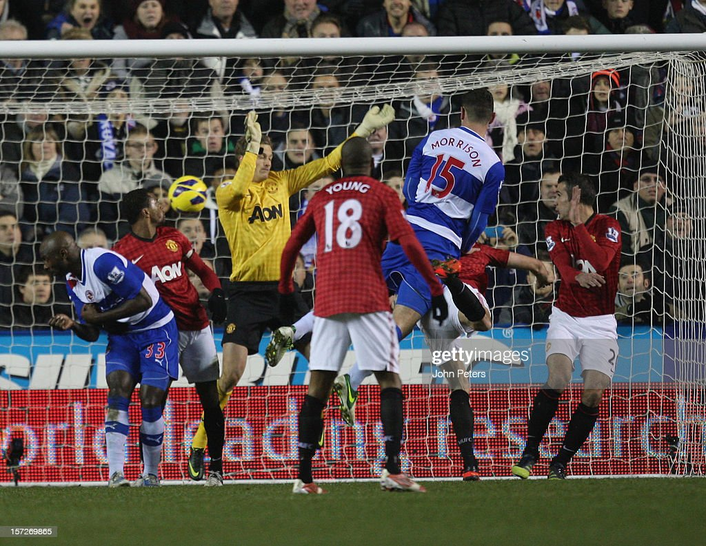 Sean Morrison of Reading scores their third goal during the Barclays Premier League match between Reading and Manchester United at Madejski Stadium on December 1, 2012 in Reading, England.