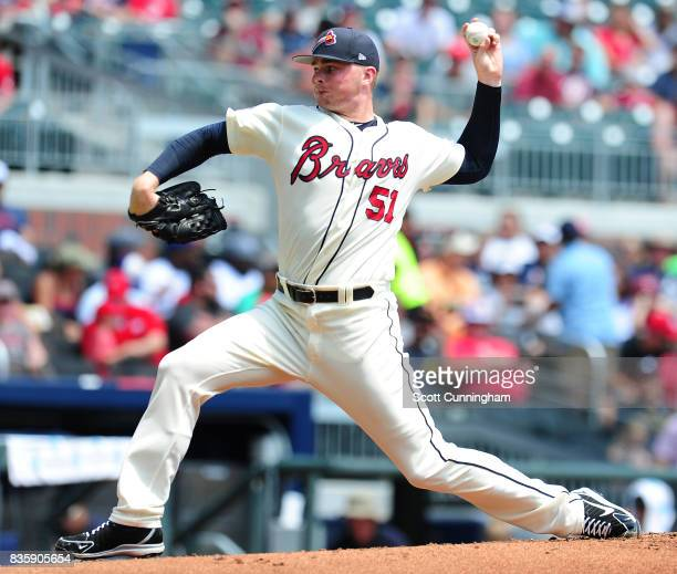Sean Newcomb of the Atlanta Braves throws a first inning pitch against the Cincinnati Reds at SunTrust Park on August 20 2017 in Atlanta Georgia