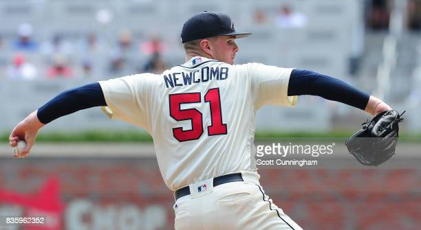 Sean Newcomb of the Atlanta Braves throws a third inning pitch against the Cincinnati Reds at SunTrust Park on August 20 2017 in Atlanta Georgia