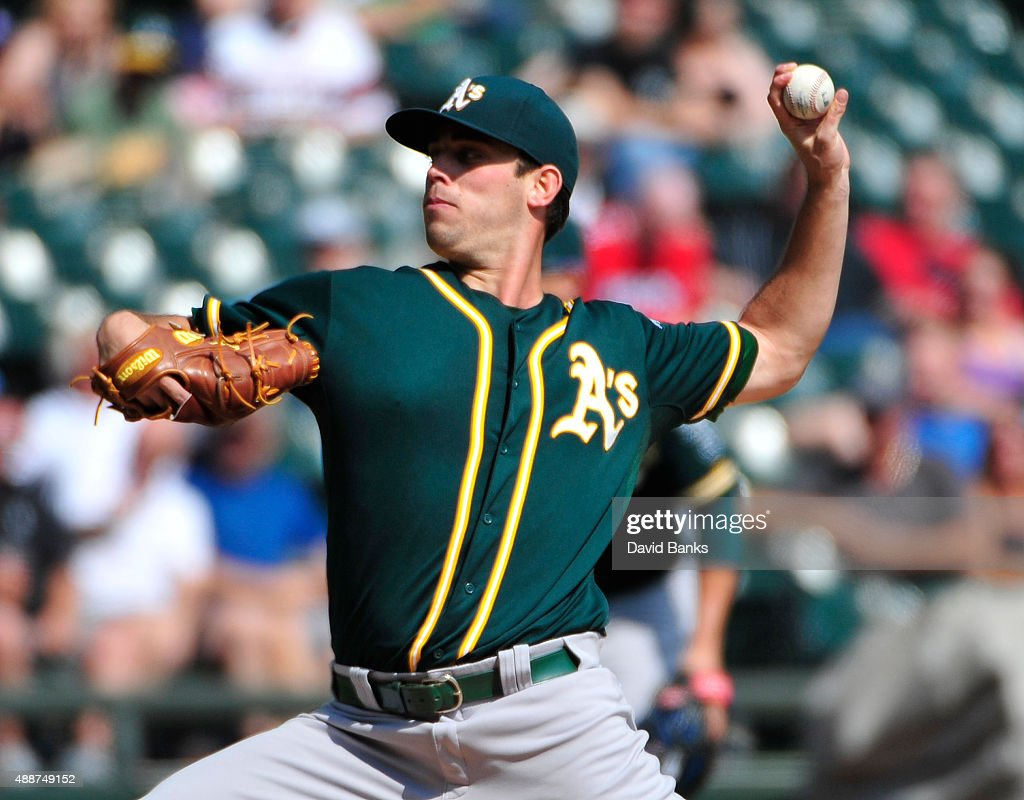 <a gi-track='captionPersonalityLinkClicked' href=/galleries/search?phrase=Sean+Nolin&family=editorial&specificpeople=10568211 ng-click='$event.stopPropagation()'>Sean Nolin</a> #47 of the Oakland Athletics pitches against the Chicago White Sox during the first inning on September 17, 2015 at U.S. Cellular Field in Chicago, Illinois.