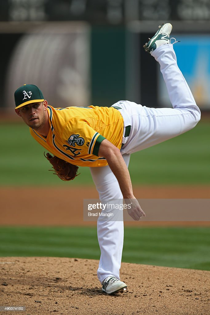 Sean Nolin of the Oakland Athletics pitches against the San Francisco Giants during the game at Oco Coliseum on Sunday September 27 2015 in Oakland...