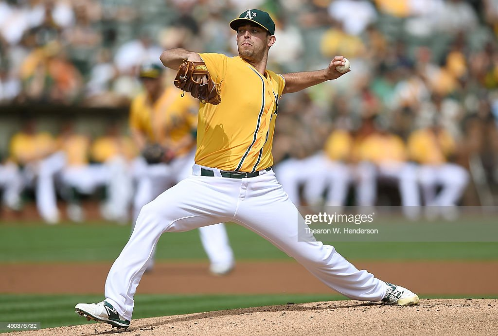 Sean Nolin of the Oakland Athletics pitches against the San Francisco Giants in the top of the first inning at Oco Coliseum on September 27 2015 in...