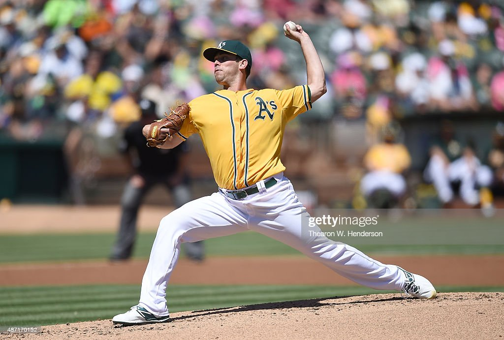 Sean Nolin of the Oakland Athletics pitches against the Seattle Mariners in the top of the second inning at Oco Coliseum on September 6 2015 in...