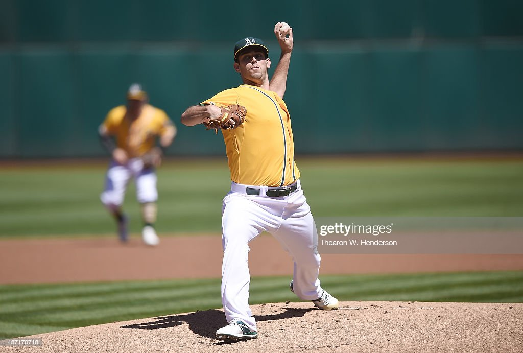 Sean Nolin of the Oakland Athletics pitches against the Seattle Mariners in the top of the first inning at Oco Coliseum on September 6 2015 in...