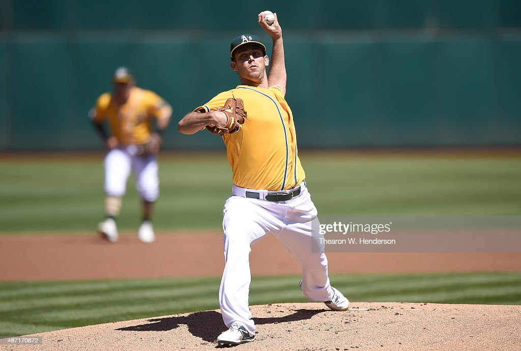 <a gi-track='captionPersonalityLinkClicked' href=/galleries/search?phrase=Sean+Nolin&family=editorial&specificpeople=10568211 ng-click='$event.stopPropagation()'>Sean Nolin</a> #47 of the Oakland Athletics pitches against the Seattle Mariners in the top of the first inning at O.co Coliseum on September 6, 2015 in Oakland, California.