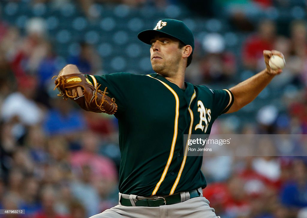 Sean Nolin of the Oakland Athletics pitches against the Texas Rangers in the bottom of the first inning at Globe Life Park in Arlington on September...