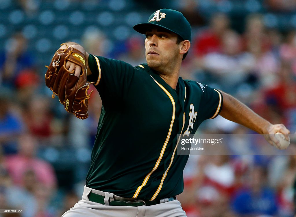 <a gi-track='captionPersonalityLinkClicked' href=/galleries/search?phrase=Sean+Nolin&family=editorial&specificpeople=10568211 ng-click='$event.stopPropagation()'>Sean Nolin</a> #47 of the Oakland Athletics pitches against the Texas Rangers in the bottom of the first inning at Globe Life Park in Arlington on September 12, 2015 in Arlington, Texas.