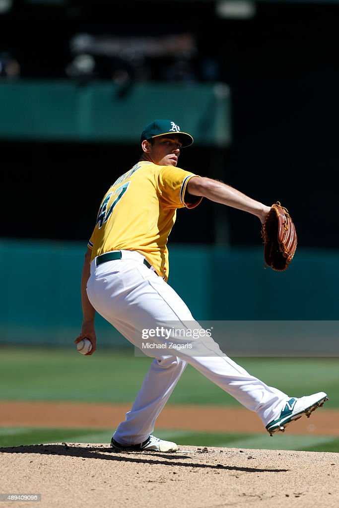Sean Nolin of the Oakland Athletics pitches during the game against the Seattle Mariners at Oco Coliseum on September 6 2015 in Oakland California...
