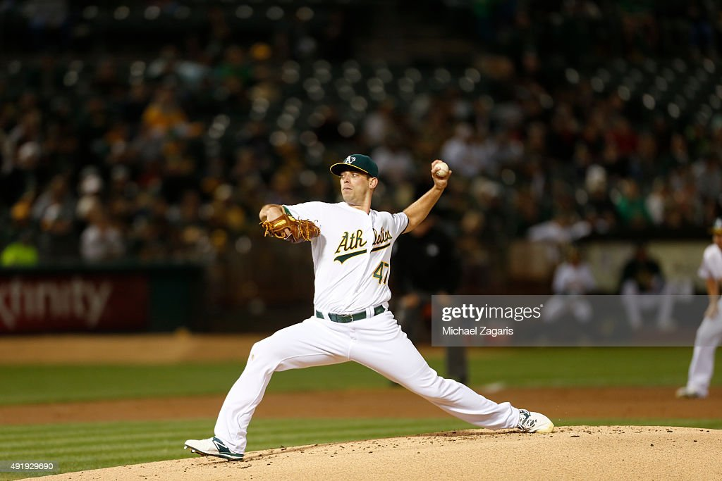 Sean Nolin of the Oakland Athletics pitches during the game against the Texas Rangers at Oco Coliseum on September 22 2015 in Oakland California The...