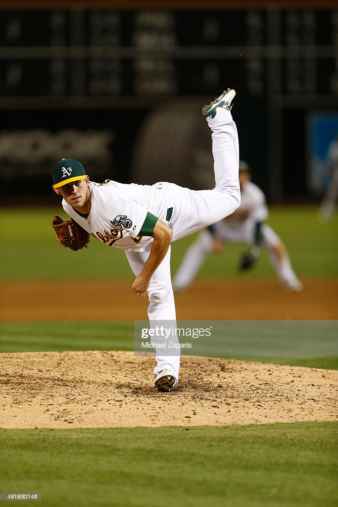 <a gi-track='captionPersonalityLinkClicked' href=/galleries/search?phrase=Sean+Nolin&family=editorial&specificpeople=10568211 ng-click='$event.stopPropagation()'>Sean Nolin</a> #47 of the Oakland Athletics pitches during the game against the Texas Rangers at O.co Coliseum on September 22, 2015 in Oakland, California. The Rangers defeated the Athletics 8-6.