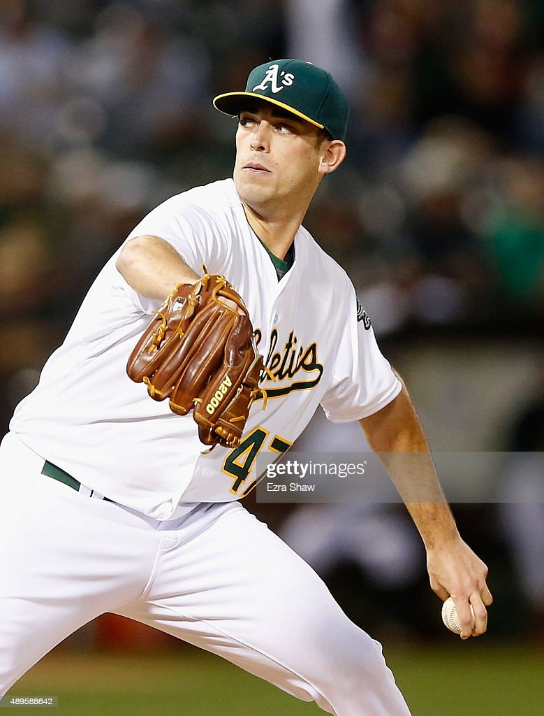 Sean Nolin of the Oakland Athletics pithes against the Texas Rangers in the first inning at Oco Coliseum on September 22 2015 in Oakland California