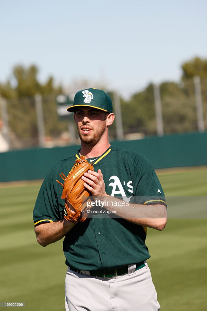 Sean Nolin of the Oakland Athletics stands on the field during a workout at Fitch Park on February 27 2015 in Mesa Arizona