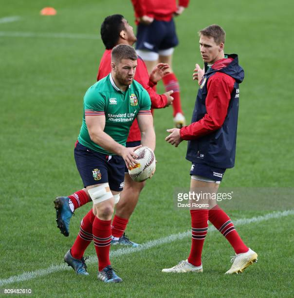 Sean O'Brien kicks the ball upfield during the British Irish Lions training session at QBE Stadium on July 6 2017 in Auckland New Zealand