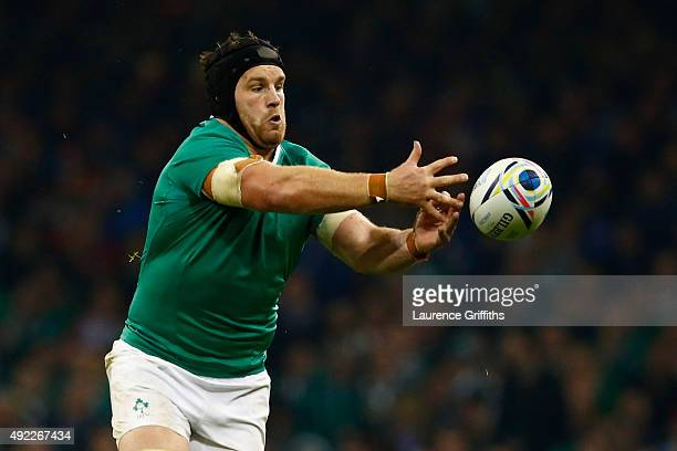Sean O'Brien of Ireland collects the ball during the 2015 Rugby World Cup Pool D match between France and Ireland at Millennium Stadium on October 11...
