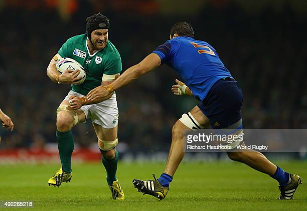 Sean O'Brien of Ireland is challenged by Yoann Maestri of France during the 2015 Rugby World Cup Pool D match between France and Ireland at...