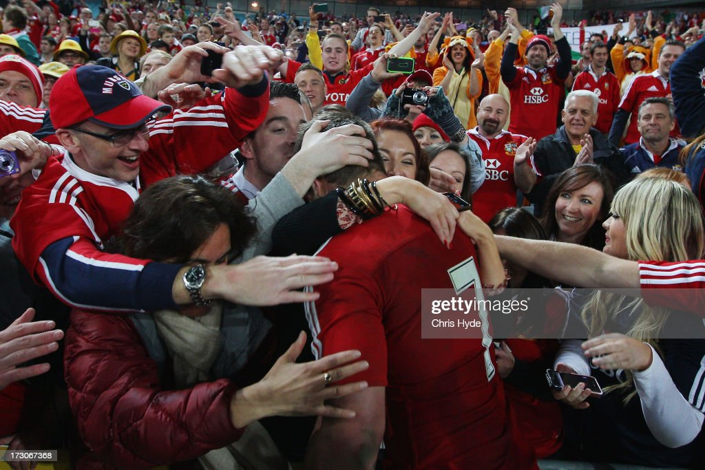 Sean O'Brien of the British & Irish Lions celebrates with fans after winning the International Test match between the Australian Wallabies and British & Irish Lions at ANZ Stadium on July 6, 2013 in Sydney, Australia.