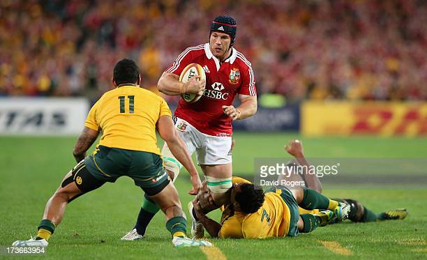 Sean O'Brien of the Lions is tackled by Joe Tomane during the International Test match between the Australian Wallabies and British Irish Lions at...