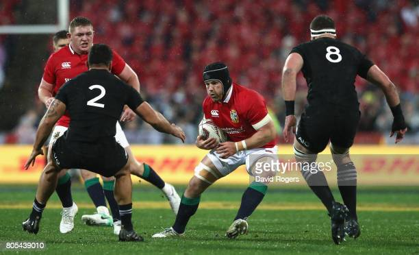 Sean O'Brien of the Lions runs with the ball during the match between the New Zealand All Blacks and the British Irish Lions at Westpac Stadium on...