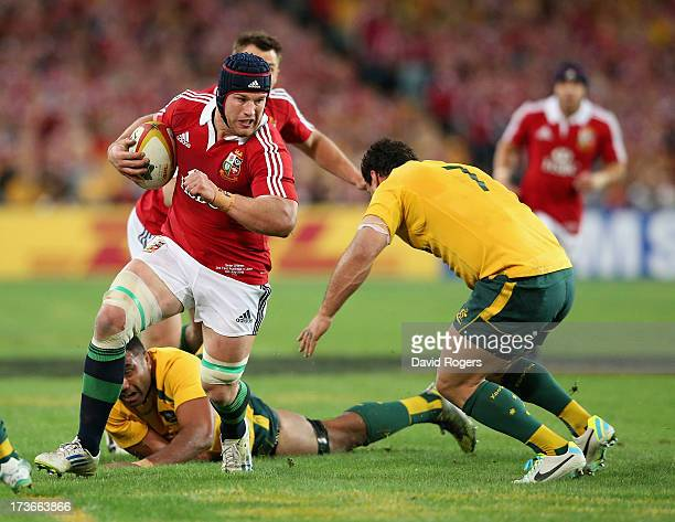 Sean O'Brien of the Lions takes on George Smith during the International Test match between the Australian Wallabies and British Irish Lions at ANZ...