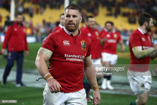 Sean O'Brien of the Lions walks off the pitch after their victory during the match between the New Zealand All Blacks and the British Irish Lions at...