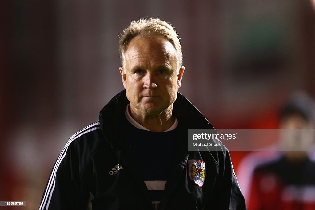 Sean O'Driscoll the manager of Bristol City dejectedly walks back to the dressing rooms after his sides 1-2 defeat during the Sky Bet League One match between Bristol City and Brentford at Ashton Gate on October 22, 2013 in Bristol, England.