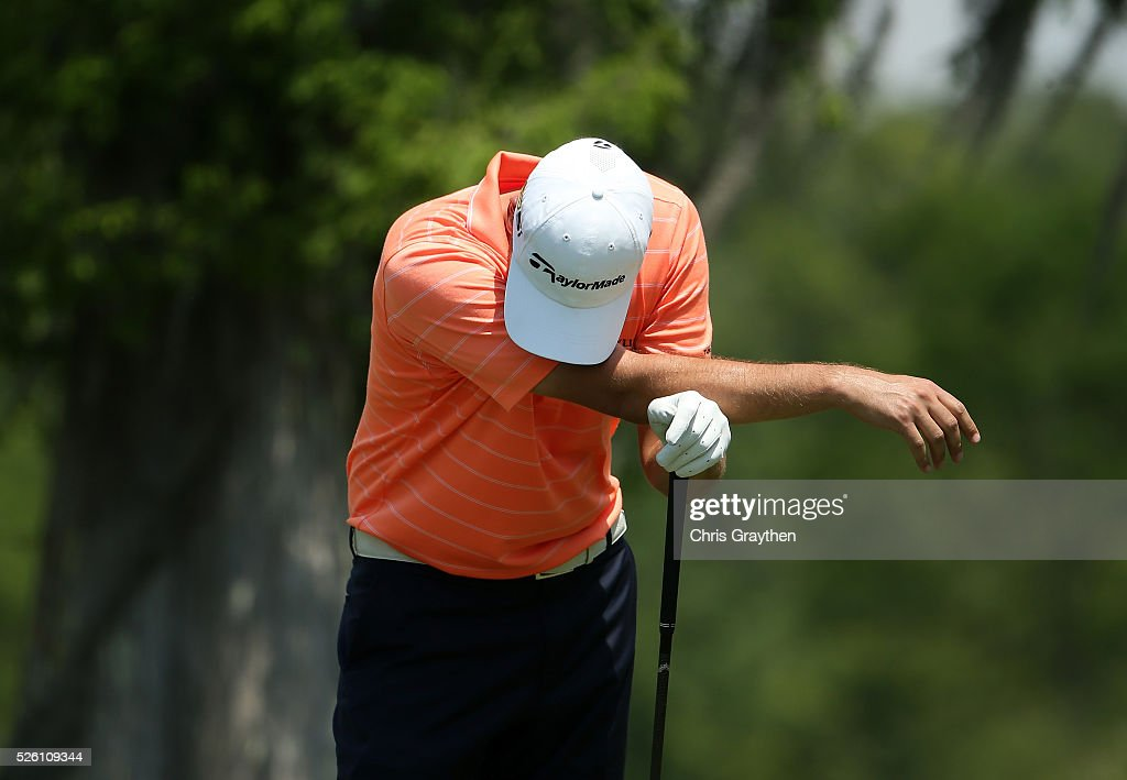Sean O'Hair reacts to his tee shot on the second hole during the second round of the Zurich Classic of New Orleans at TPC Louisiana on April 29, 2016 in Avondale, Louisiana.
