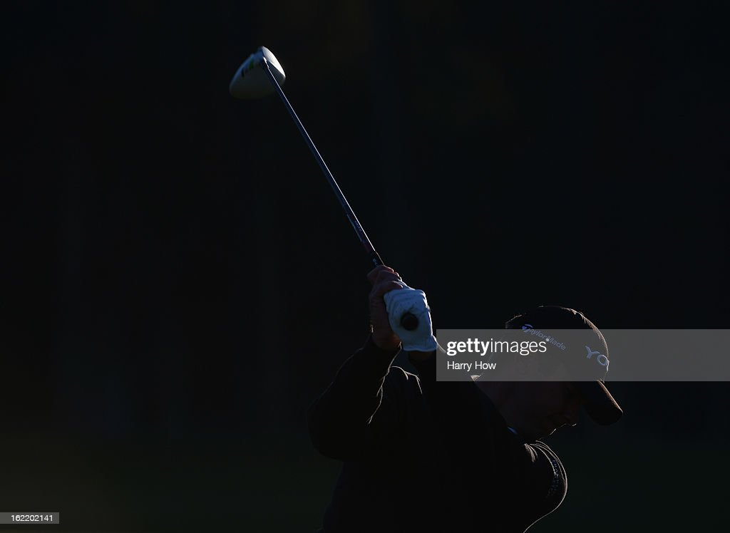 Sean O'Hair warms up before the first round of the Northern Trust Open at the Riviera Country Club on February 14, 2013 in Pacific Palisades, California.