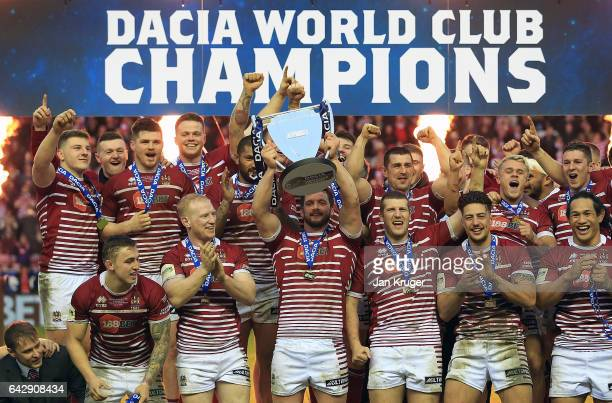 Sean O'Loughlin of Wigan Warriors lifts the trophy during the Dacia World Club Challenge match between Wigan Warriors and CronullaSutherland Sharks...