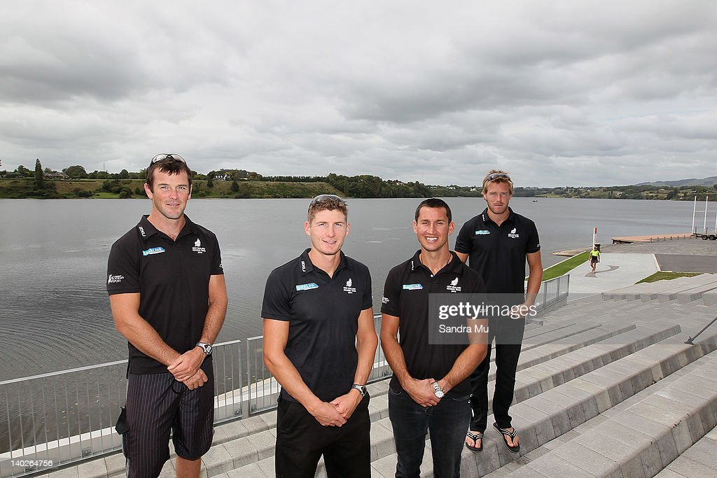 Sean O'Neil, Chris Harris, Jade Uru and Tyson Williams pose during a press conference to announce the New Zealand 2012 rowing team at Lake Karapiro on March 2, 2012 in Cambridge, New Zealand.