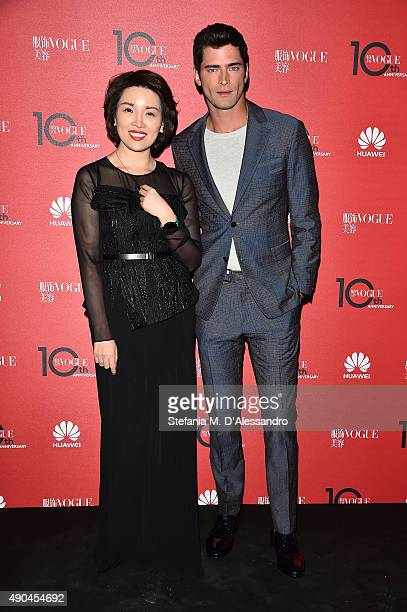 Sean O'Pry and Glory Zhang attend Vogue China 10th Anniversary at Palazzo Reale on September 28 2015 in Milan Italy