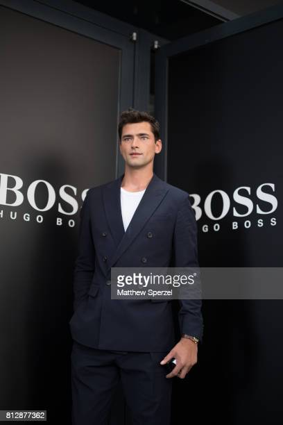 Sean O'Pry is seen attending BOSS during Men's New York Fashion Week wearing Hugo Boss on July 11 2017 in New York City