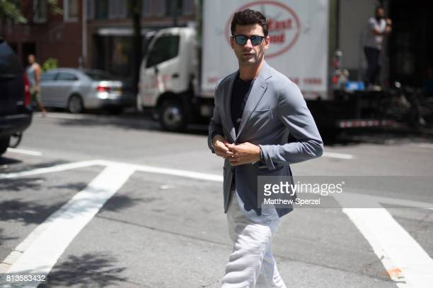 Sean O'Pry is seen attending Deveaux at EN Japanese Brasserie during Men's New York Fashion Week wearing ESM on July 12 2017 in New York City