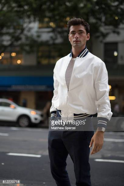 Sean O'Pry is seen attending Todd Snyder during Men's New York Fashion Week wearing Todd Snyder on July 10 2017 in New York City