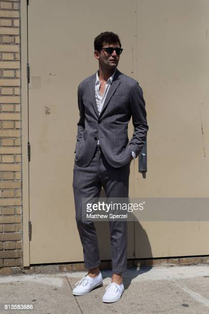 Sean O'Pry is seen attending You As at Skylight Clarkson during Men's New York Fashion Week wearing ESM on July 12 2017 in New York City