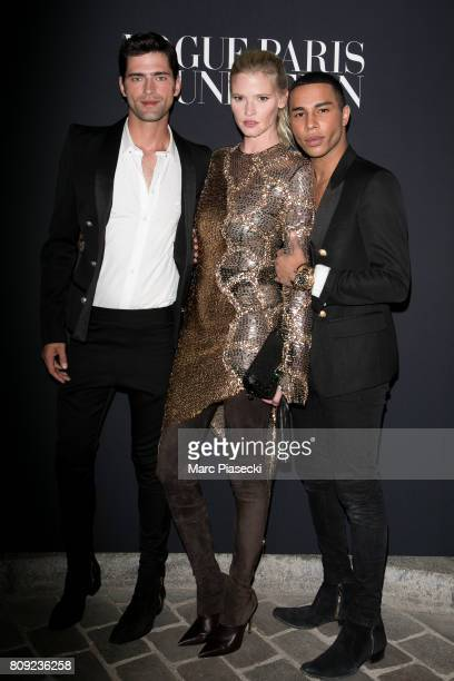 Sean O'Pry Lara Stone and Olivier Rousteing attend Vogue Foundation Dinner during Paris Fashion Week as part of Haute Couture Fall/Winter 20172018 at...