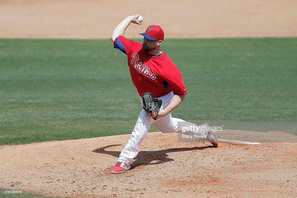 Sean O'Sullivan #61 of the Philadelphia Phillies throws a pitch in the second inning of a game against the Pittsburgh Pirates at Bright House Field on March 16, 2014 in Clearwater, Florida.