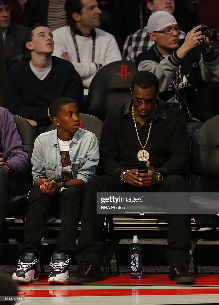 Sean P. Diddy Combs and Chris Tucker sit courtside during the Sears Shooting Stars on State Farm All-Star Saturday Night during NBA All Star Weekend on February 16, 2013 at the Toyota Center in Houston, Texas.