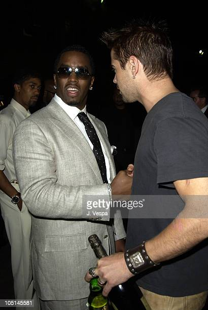 Sean 'P Diddy' Combs and Colin Farrell during 2003 MTV Movie Awards Backstage and Audience at The Shrine Auditorium in Los Angeles California United...