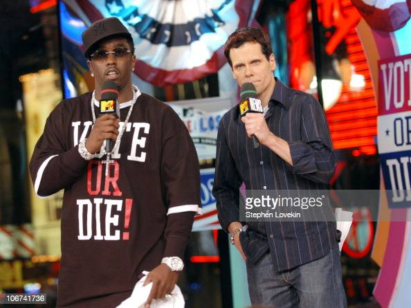 Sean 'P Diddy Combs' and MTV's John Norris during Sean 'P Diddy' Combs Rachel Bilson Rosario Dawson and Trick Daddy Visit MTV's 'TRL' November 2 2004...