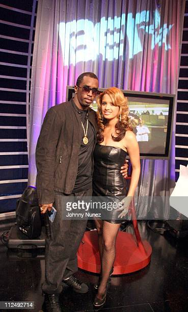 Sean P Diddy Combs and Rocsi during Sean P Diddy Combs Appears on 106 and Park at BET Studios in New York City New York United States
