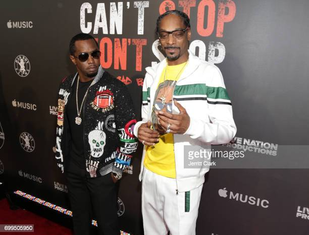 Sean 'P Diddy' Combs and Snoop Dogg attend the Los Angeles Premiere Of 'Can't Stop Won't Stop' at Writers Guild of America West on June 21 2017 in...