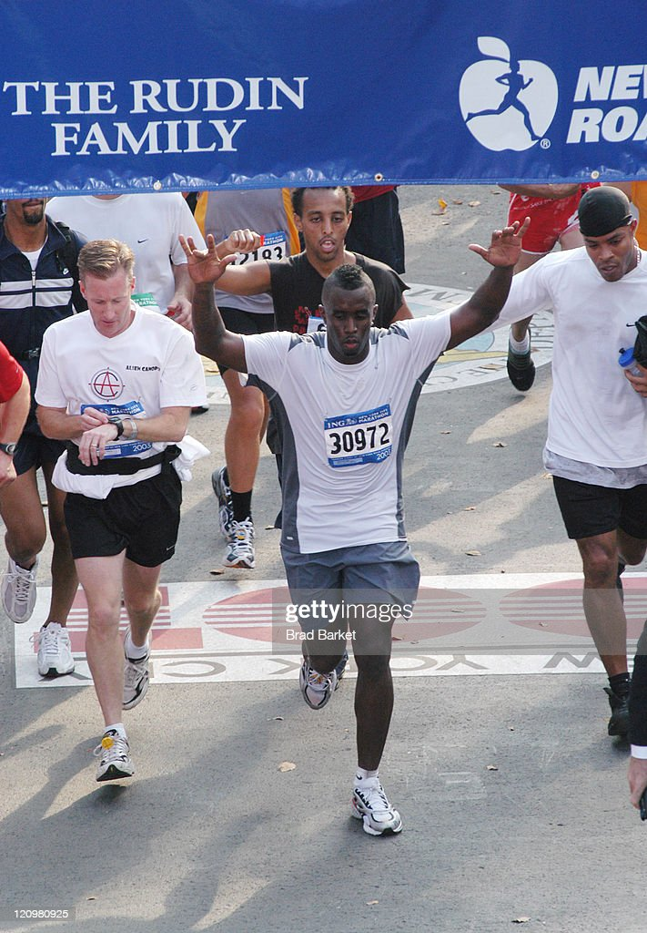 Sean 'P Diddy' Combs finishes the 34th running of the ING New York City Marathon in New York's Central Park on Nov 2 2003