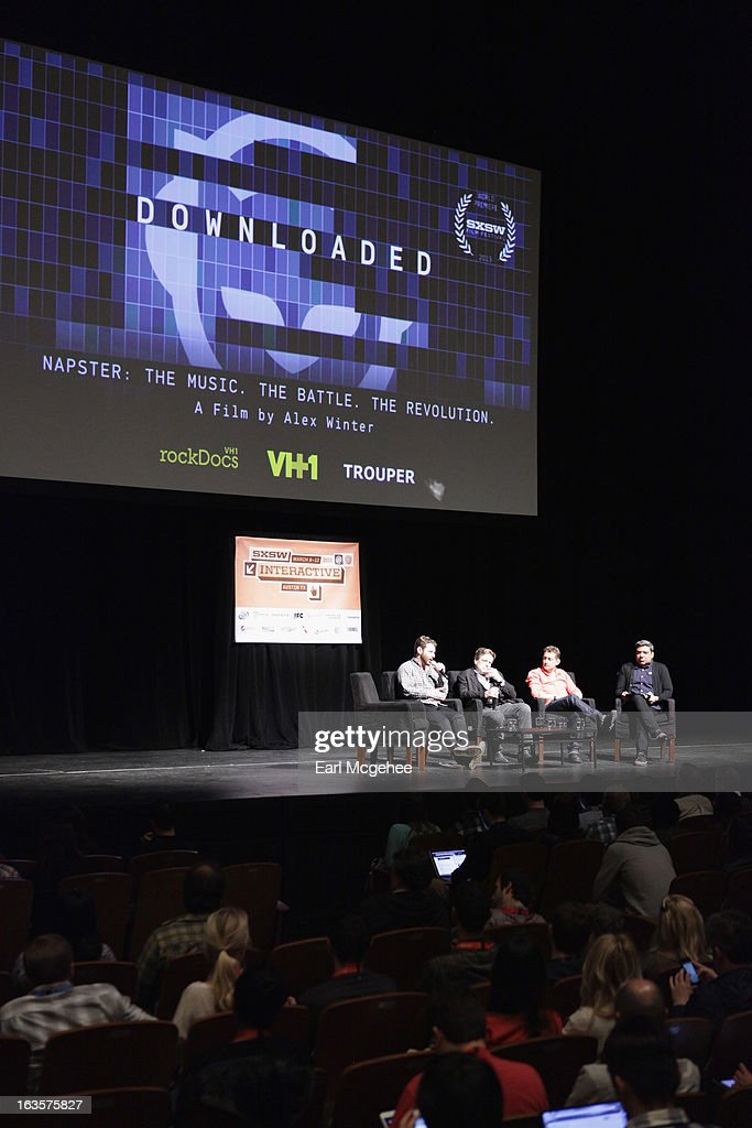 Sean Parker founder of Airtime John Perry Barlow cofounder Electronic Frontier Foundation director/producer Alex Winter and moderator Eugene...