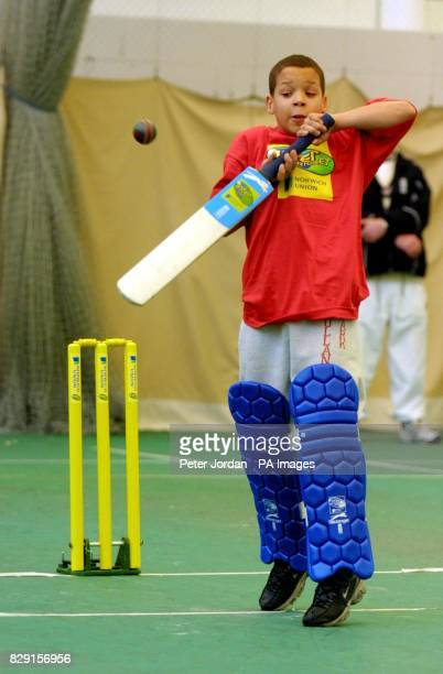 Sean Patterson from Holland Park School takes part in the Middlesex County Final of the Norwich Union Inter Cricket Indoor Tournament at Lord's...