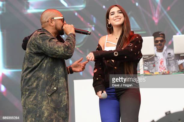 Sean Paul and Dua Lipa attend Day 2 of BBC Radio 1's Big Weekend 2017 at Burton Constable Hall on May 28 2017 in Hull United Kingdom